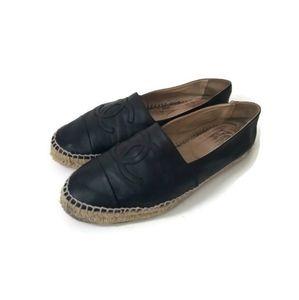 CHANEL Espadrilles lambskin leather black sz 42